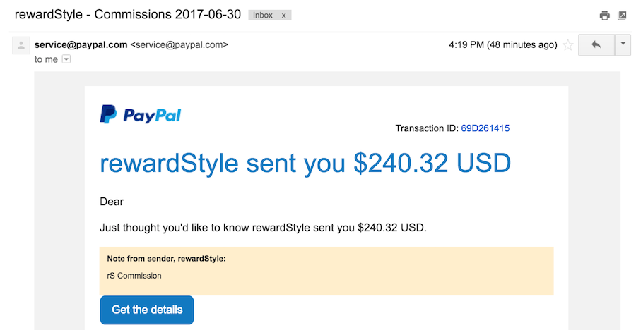 Rewardstyle Payment To Paypal Email Notification