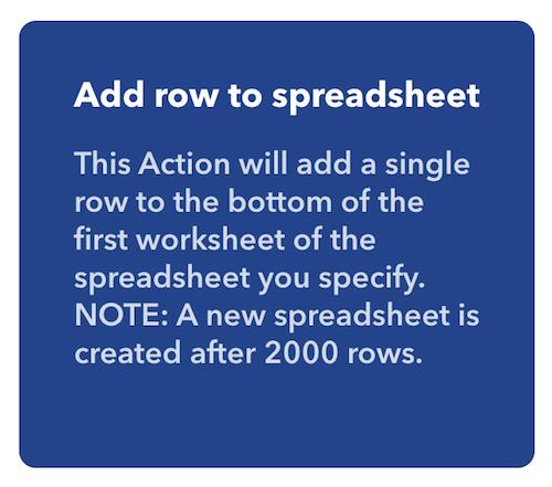 IFTTT Add Row To Spreadsheet