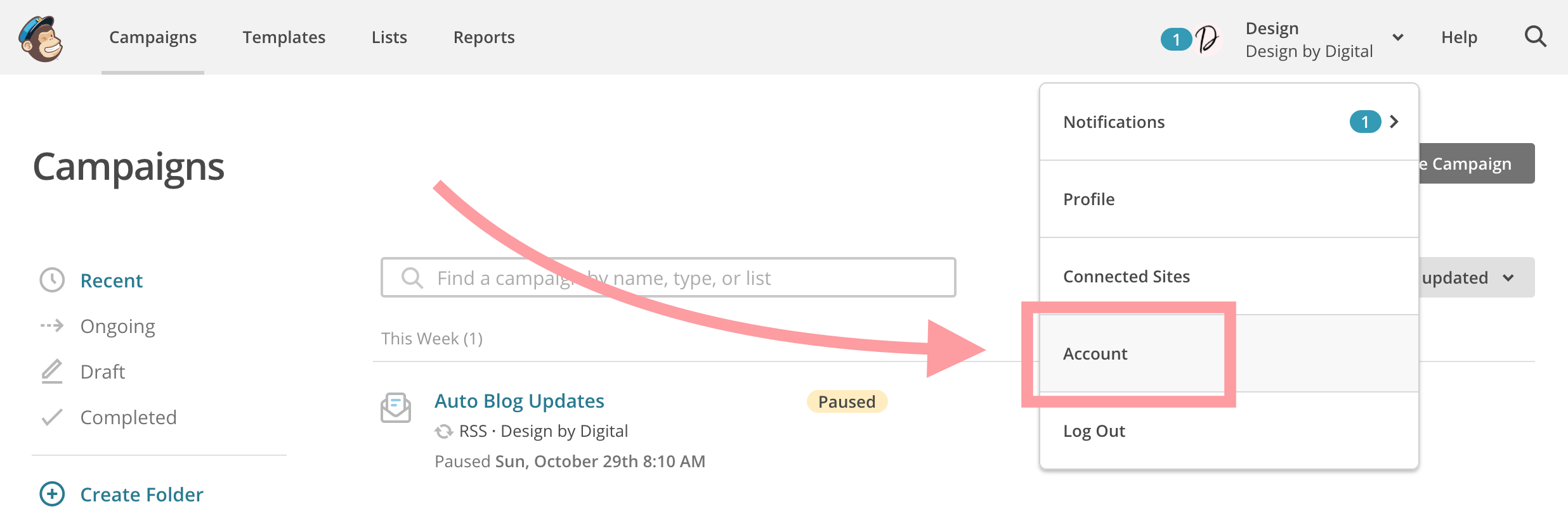 Account Settings In Mailchimp