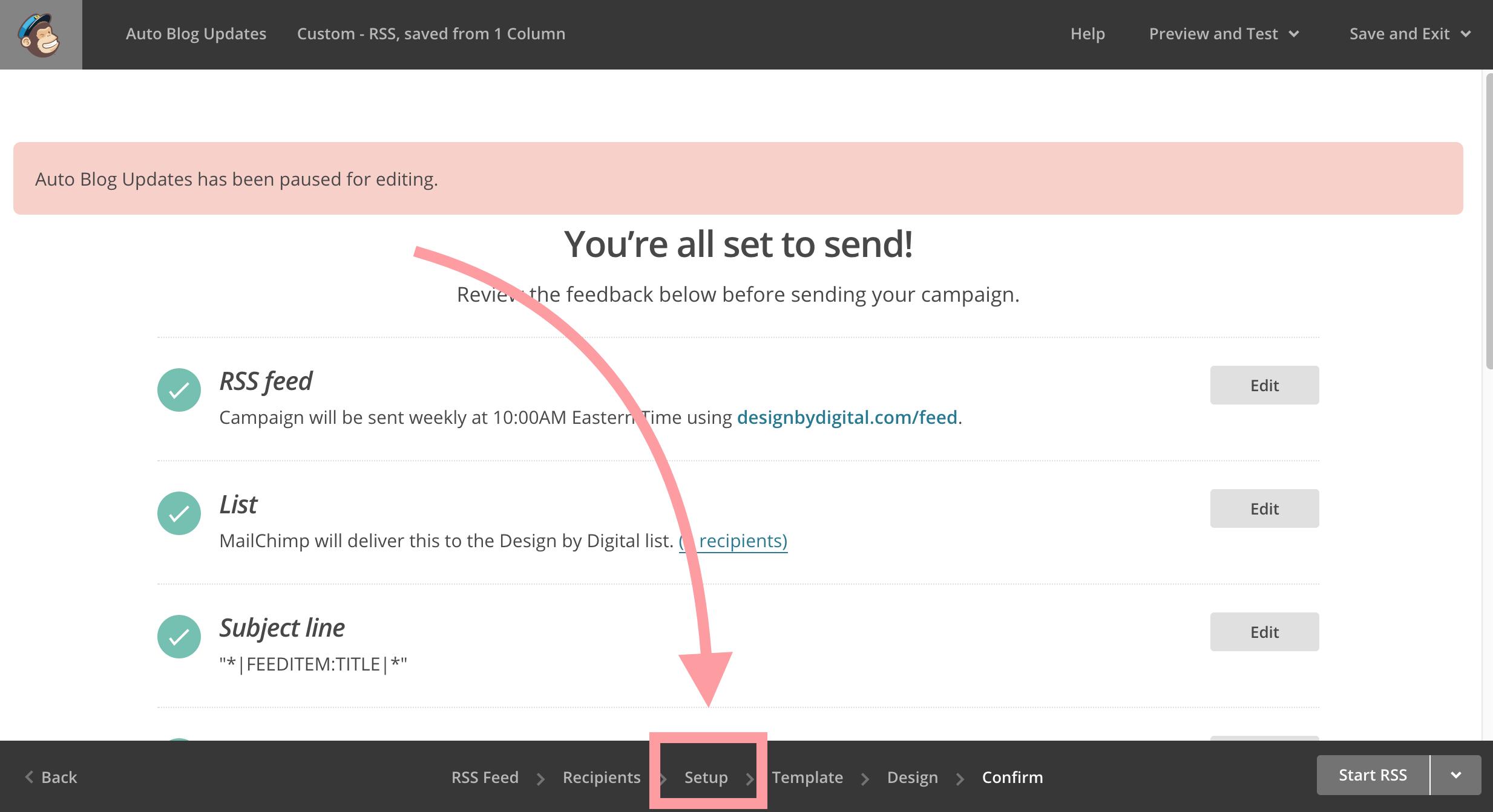 Click Setup In Mailchimp Campaign