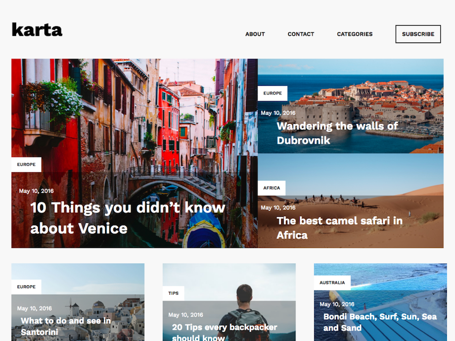 Karta Free Travel Blog Theme