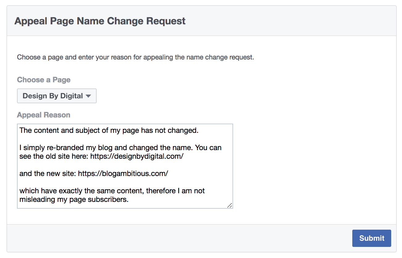 Facebook Name Change Appeal Request