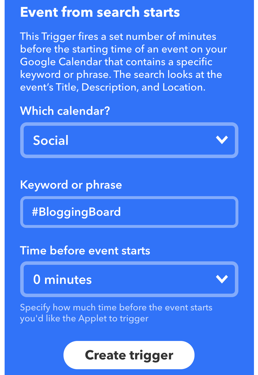 Event From Search Starts IFTTT
